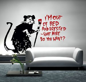 Banksy Wall Decal Sticker Vinyl Street Art Graffiti Decor Out Of Bed Rat  Mural