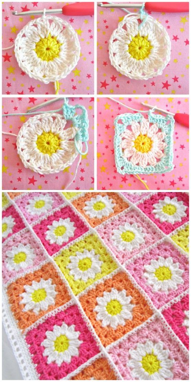 Crochet Flower Granny Square Pattern Crocheting Ideas Pinterest