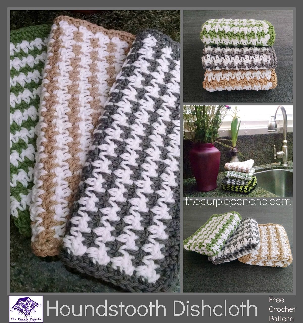 Houndstooth dishcloth free crochet pattern the purple poncho houndstooth dishcloth free crochet pattern the purple poncho dt1010fo