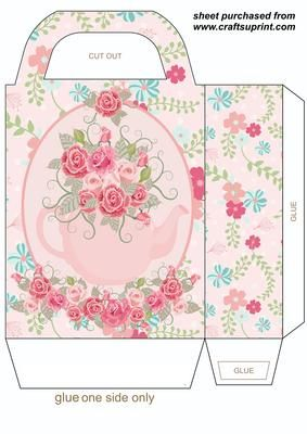 Pink floral tea pot gift bag on Craftsuprint designed by Sharon Poore - Pink floral tea pot gift bag,you will need to print 2 sheets to make the gift bag - Now available for download!