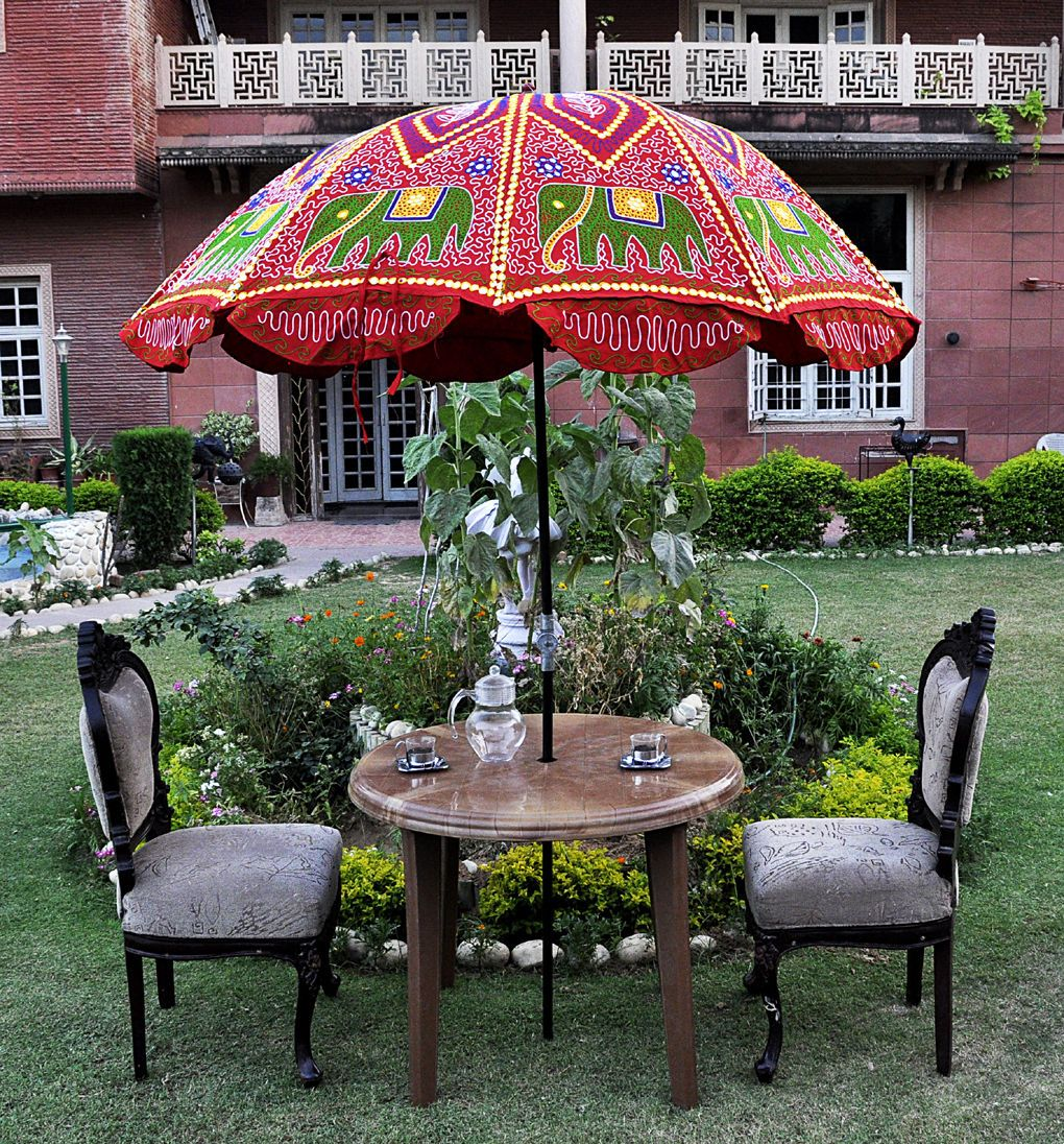 Indian Garden Umbrella Elephant Embroidered Cotton Red Outdoor Patio Parasol 72 Ebay