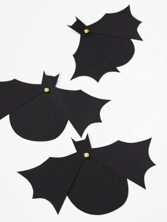 Halloween Einladung Basteln Idee Papier Schwarze Fledermäuser  Einladungskarten