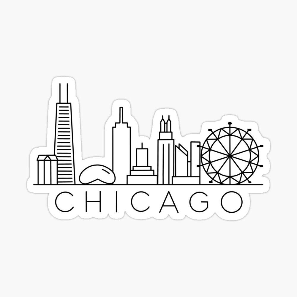 Chicago Skyline Sticker By Jamie Maher In 2021 Chicago Skyline Tattoo Chicago Skyline Art Chicago Tattoo [ 1000 x 1000 Pixel ]