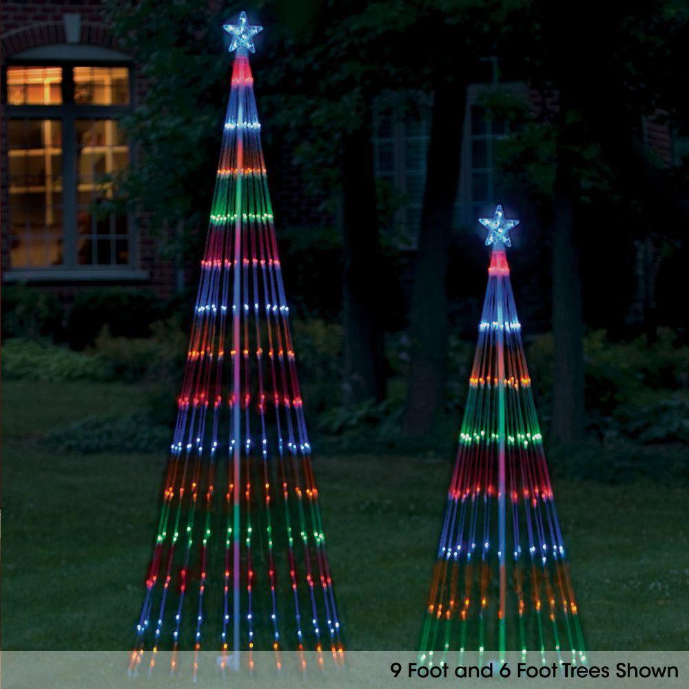 The Led Light Show Tree Hammacher Schlemmer Outdoor Christmas Tree Outdoor Christmas Led Christmas Tree Lights