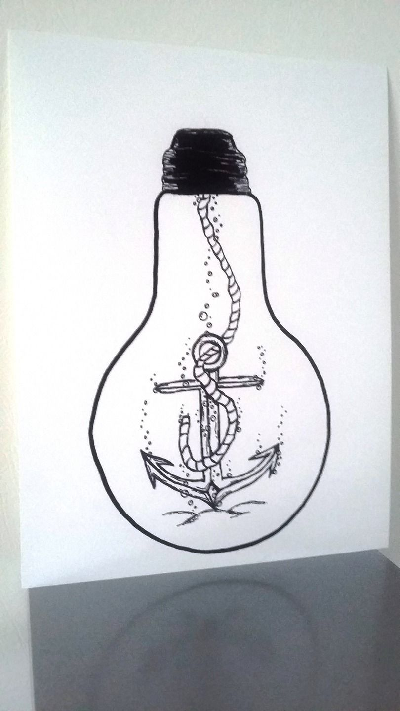 affiche illustration noir et blanc ampoule  u0026quot  ancrez vos r u00eaves  u0026quot    dessins par stefe