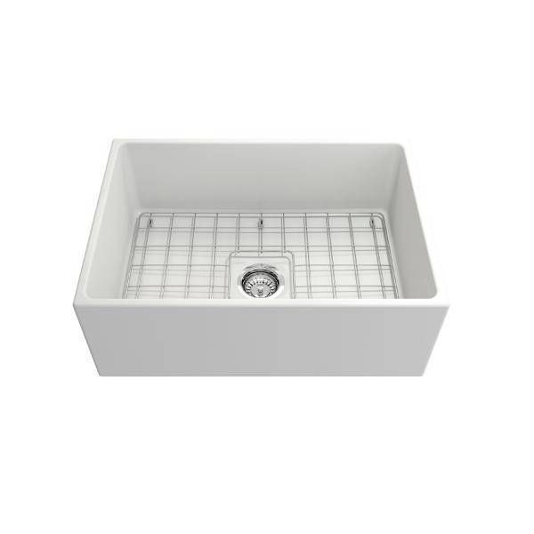 Bocchi Contempo 27 Matte White Fireclay Single Bowl Farmhouse Sink w/ Grid