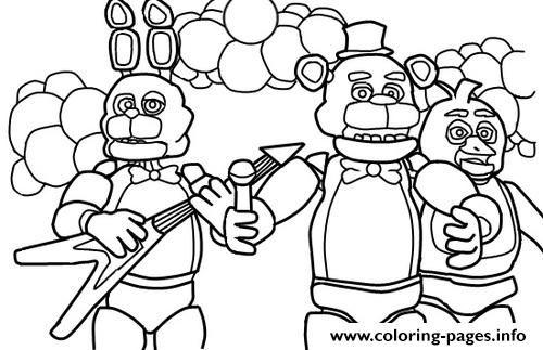 Print Five Nights At Freddys Fnaf Music Band Coloring