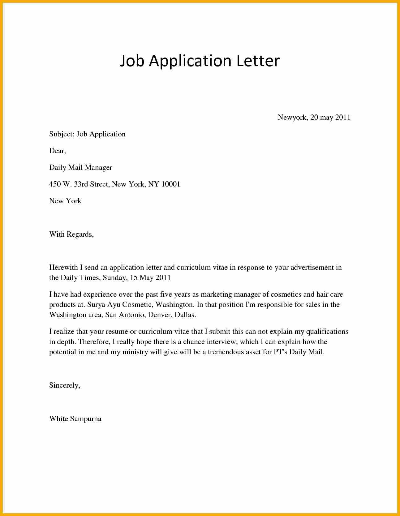 Application Letter For Job Vacancy Bursary Cover Example Any
