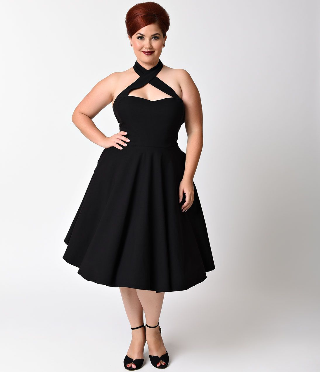 Plus size vintage dresses plus size retro dresses 1950s style unique vintage plus size 1950s style black rita halter flare dress size 4xl 7800 at vintagedancer ombrellifo Gallery