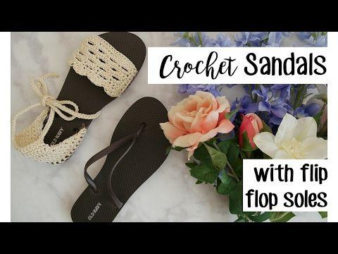 Crochet Sandals with Flip Flop Soles | Häkeln, Haussocken und Deko ...