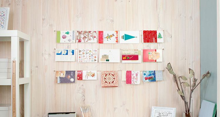 Simple way to hang your Christmas cards and it\u0027s easily removed at