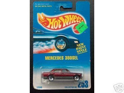 Mattel Hot Wheels 1991 1:64 Scale Maroon Mercedes 380SEL Die Cast Car Collector #253 by Hot Whels. $6.99. Die Cast Metal Parts. Hot Wheels - Mercedes 380SEL car replica - Collector #253. 1:64 Scale Replica. 1991 issue/copyright/vintage. Mattel Hot Wheels 1991 1:64 Scale Maroon Mercedes 380SEL Die Cast Car Collector #253