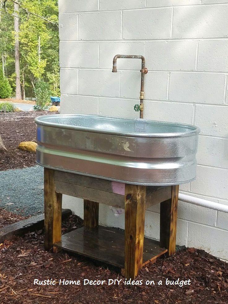 16 Creative And Rustic Garden Diys 1 Rustic Wood Furniture Tips Outdoor Sinks Garden Sink Laundry Room Diy