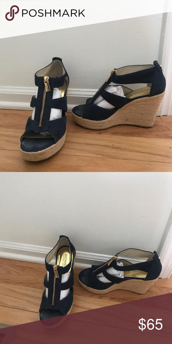 4bf3abf39 Spotted while shopping on Poshmark  Navy Michael Kors Wedges — SIZE 7!   poshmark  fashion  shopping  style  Michael Kors  Shoes