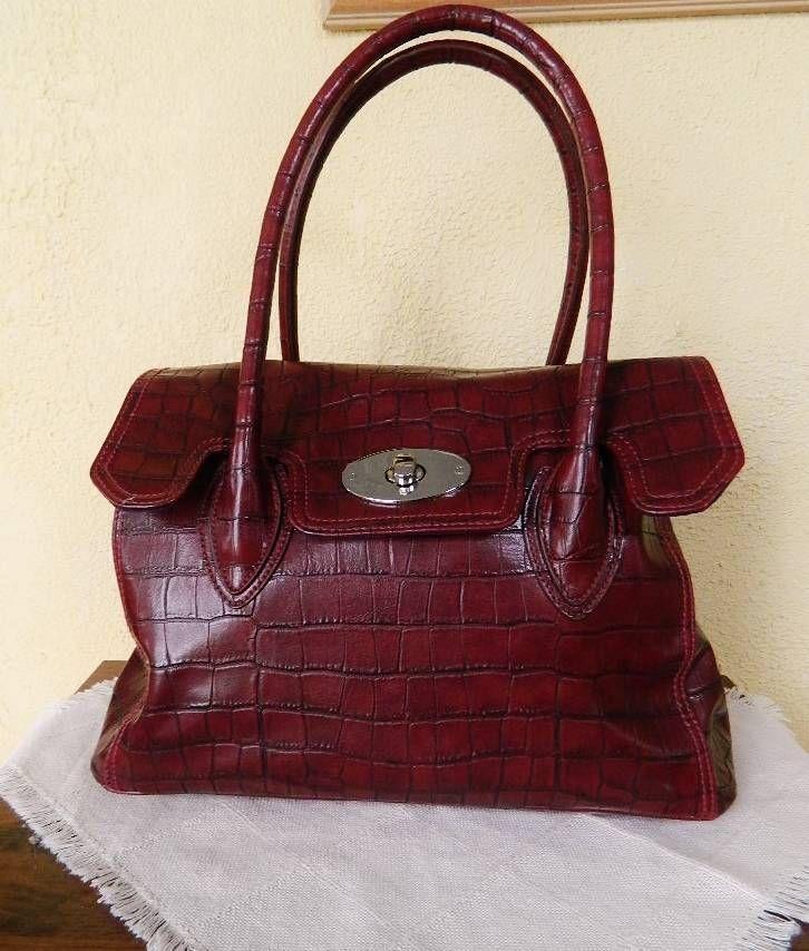 Worthington Croc Embossed Large Shoulder Handbag Oxblood Red Faux Leather Shoulderbag Handbags