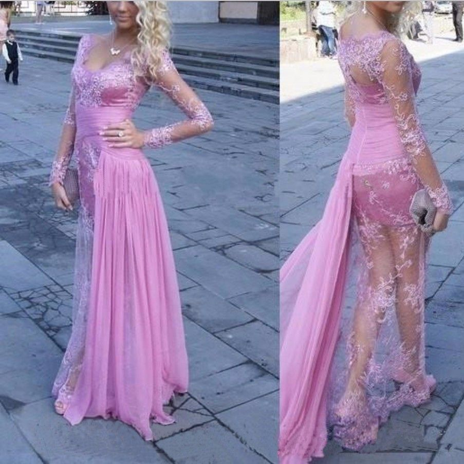 Hot sexy pink lace prom dress sexy pink lace and prom
