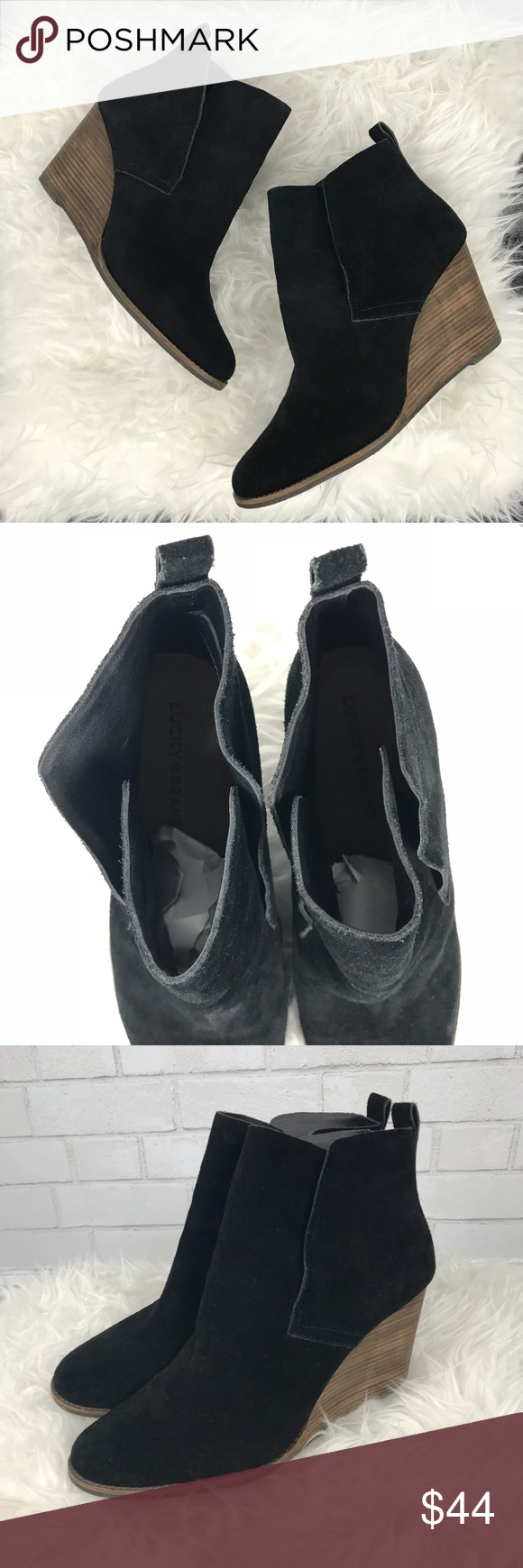 46d0287e5de0 Lucky Brand Yoniana Black Suede Wedge Booties Excellent condition Lucky  Brand Yoniana Wedge Booties. Black