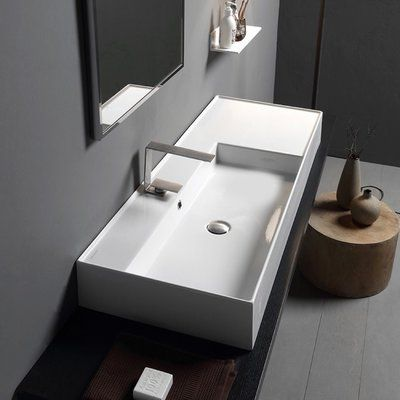 Scarabeo By Nameeks Ceramic 40 Wall Mounted Bathroom Sink With Overflow Wall Mounted Bathroom Sinks Bathroom Sink Bathroom Decor