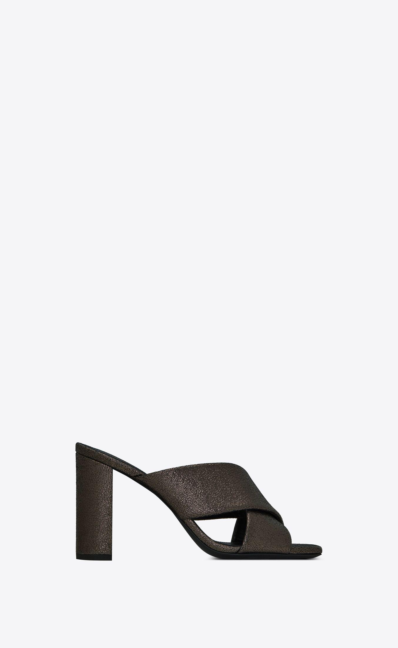 Loulou Mules In Metallic Leather Metallic Leather