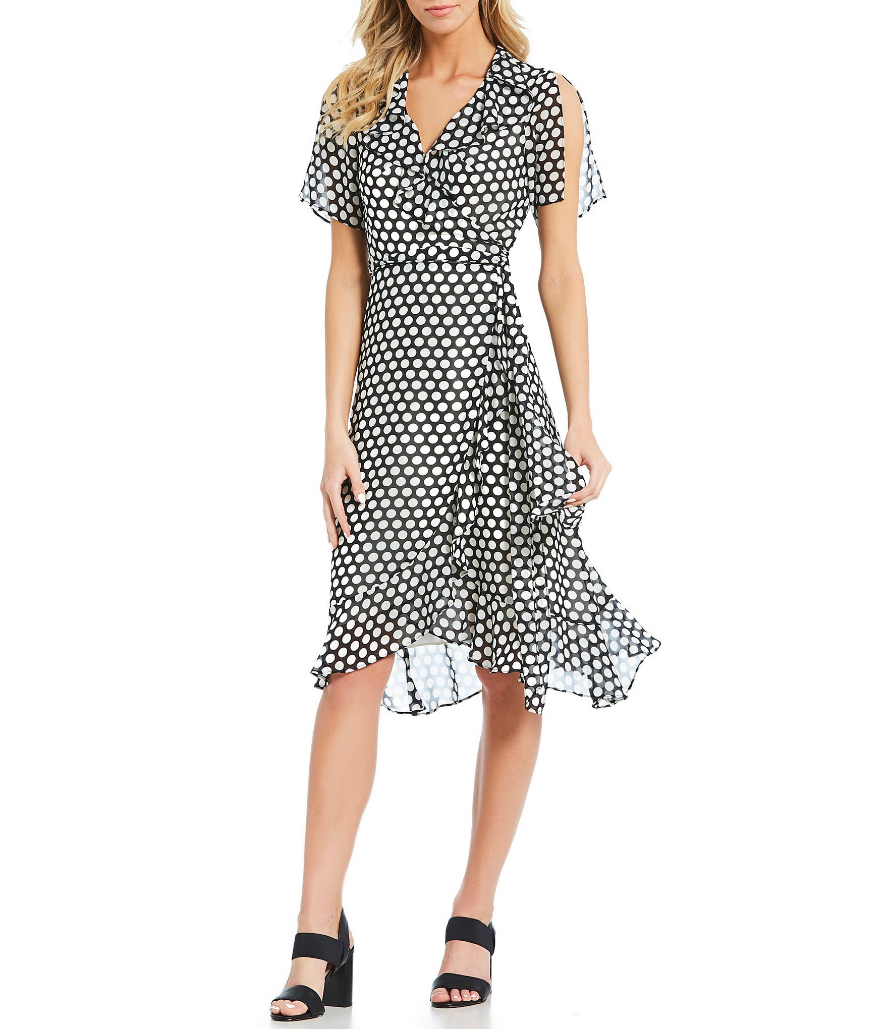 ded8312010b Shop for Donna Morgan Polka Dot Hi-Low Ruffle Hem Midi Length Wrap Dress at  Dillards.com. Visit Dillards.com to find clothing