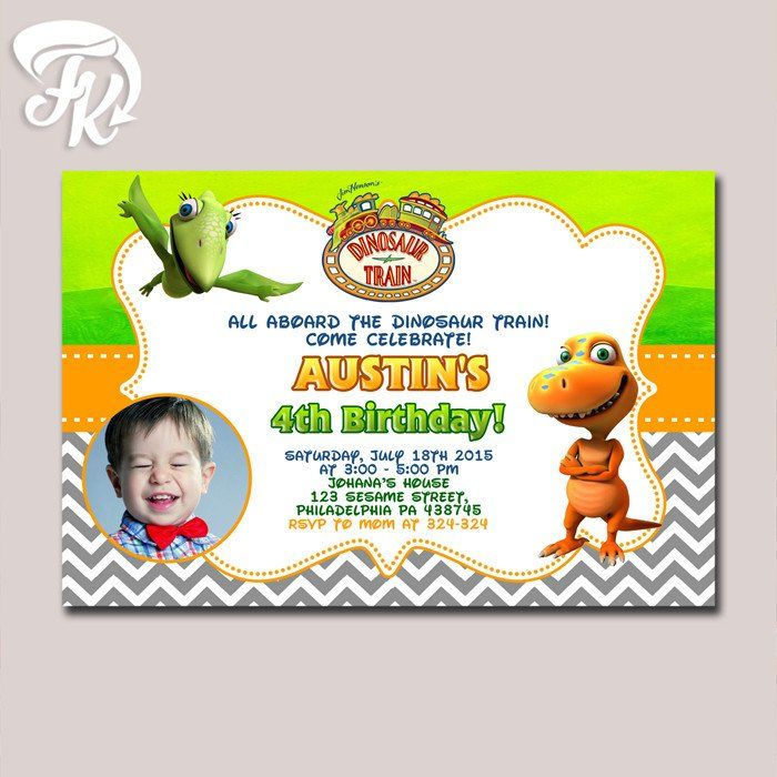 Dinosaur Train Chevron Photo Birthday Party Card Digital Invitation For Boys And Girls