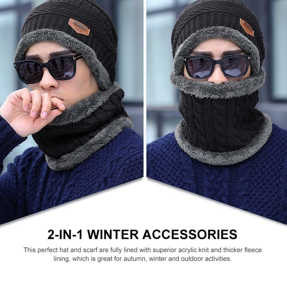 7e323b0bea5 Vbiger Beanie Hat Scarf Set Knit Hat Warm Thick Winter Hat for Men Xmas  Gift  VBIGER  mens