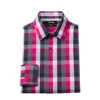Men S Apt Slim Fit Plaid Stretch Dress Shirt Stretch Dress