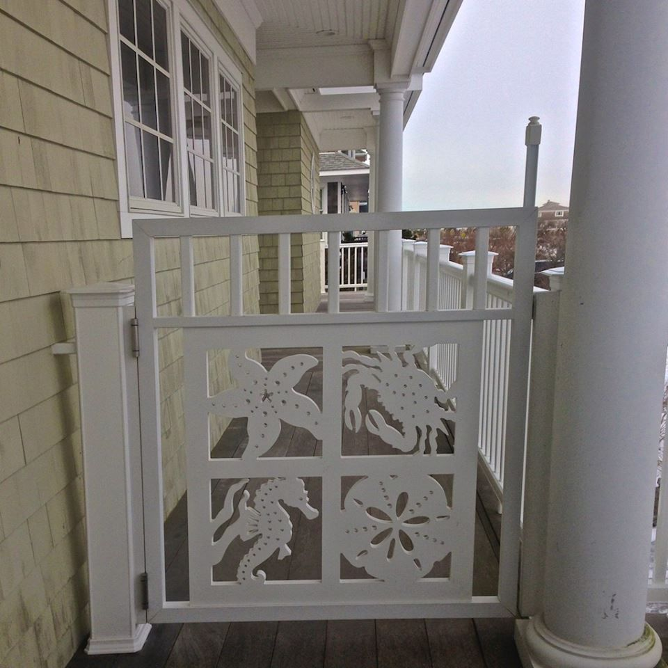Door created with porch railing panel from island creek designs