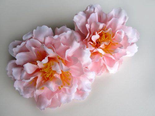 12pcs silk peony 4 artificial flower heads fabric wholesale 12x artificial silk peony flower heads 4 wholesale lots for wedding hair clip ebay mightylinksfo