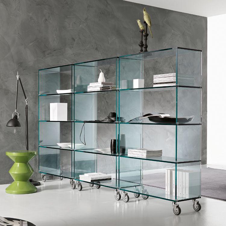 Tonelli Libreria Glass Storage Bookcase Contemporary Living