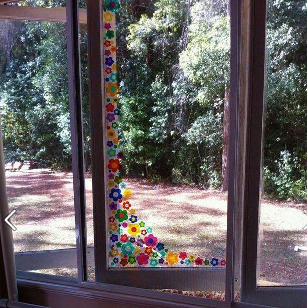 Colourful beautiful flower window stickers http www hippymotors co uk flower sun strip window stickers