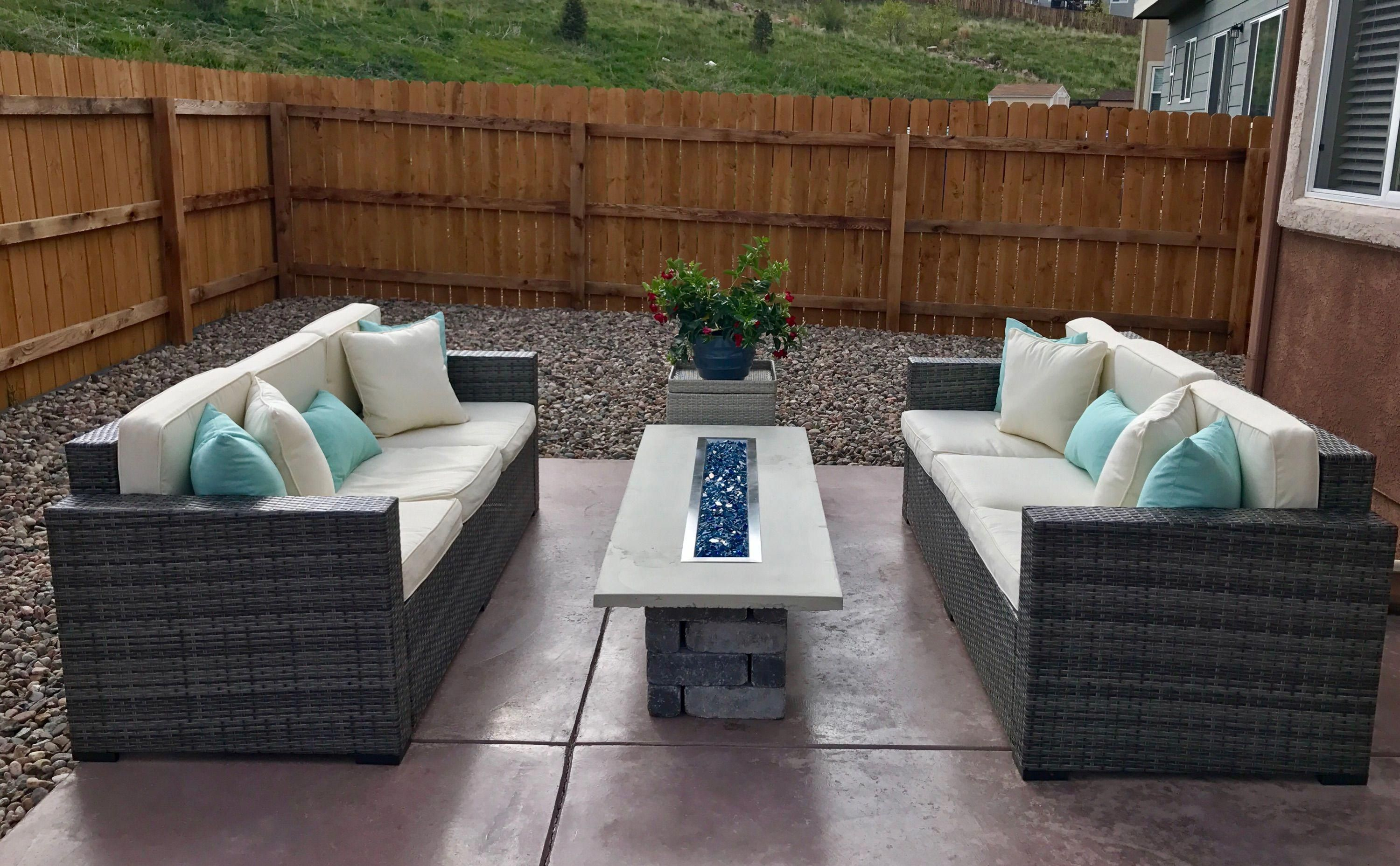 New Backyard Ft Custom Self Made Gas Fire Pit Table Out Of Poured