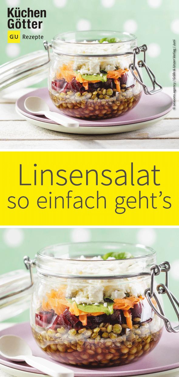 Low-Carb-Linsensalat im Glas