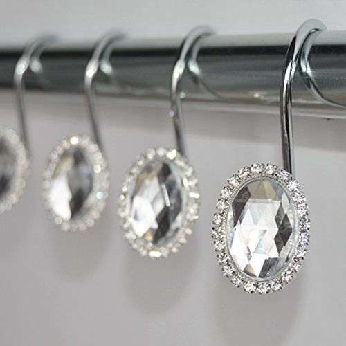 Shower Curtain Hooks Rings Oval Clear Cute Decorative Crystal