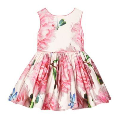 e9834e43fd2d7 Baker by Ted Baker Girl s pink peony flower dress- at Debenhams.com ...