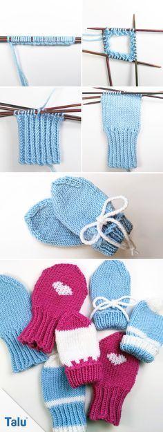Babyhandschuhe stricken - Anleitung für Baby Fäustlinge - Talu.de #freebabycrochetpatterns