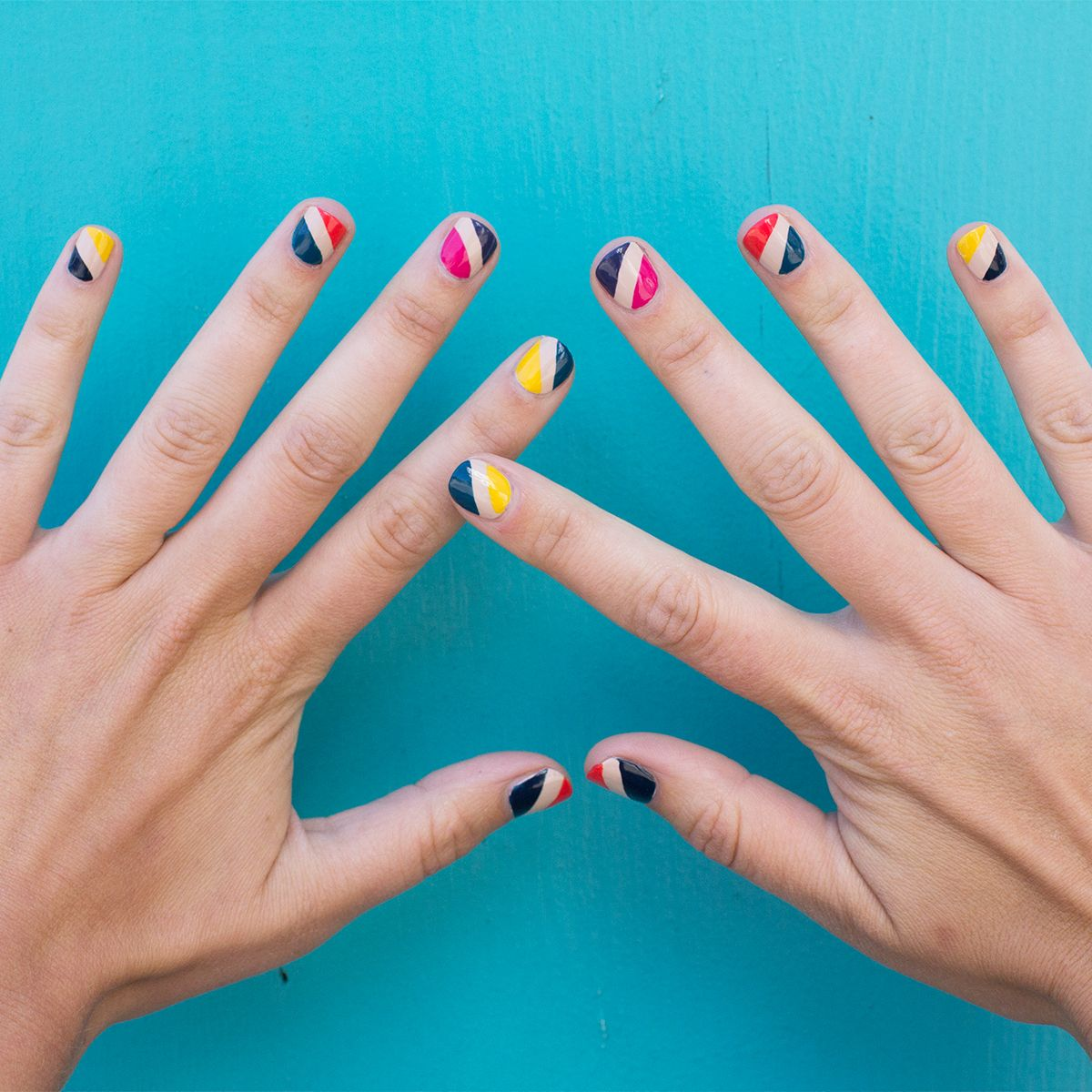Diagonal nail art (when you can\'t decide on just one color!) | Hair ...