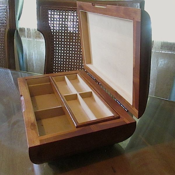2 Lb Vintage Curved Genuine Solid Teak Wood Jewelry Box with Lift