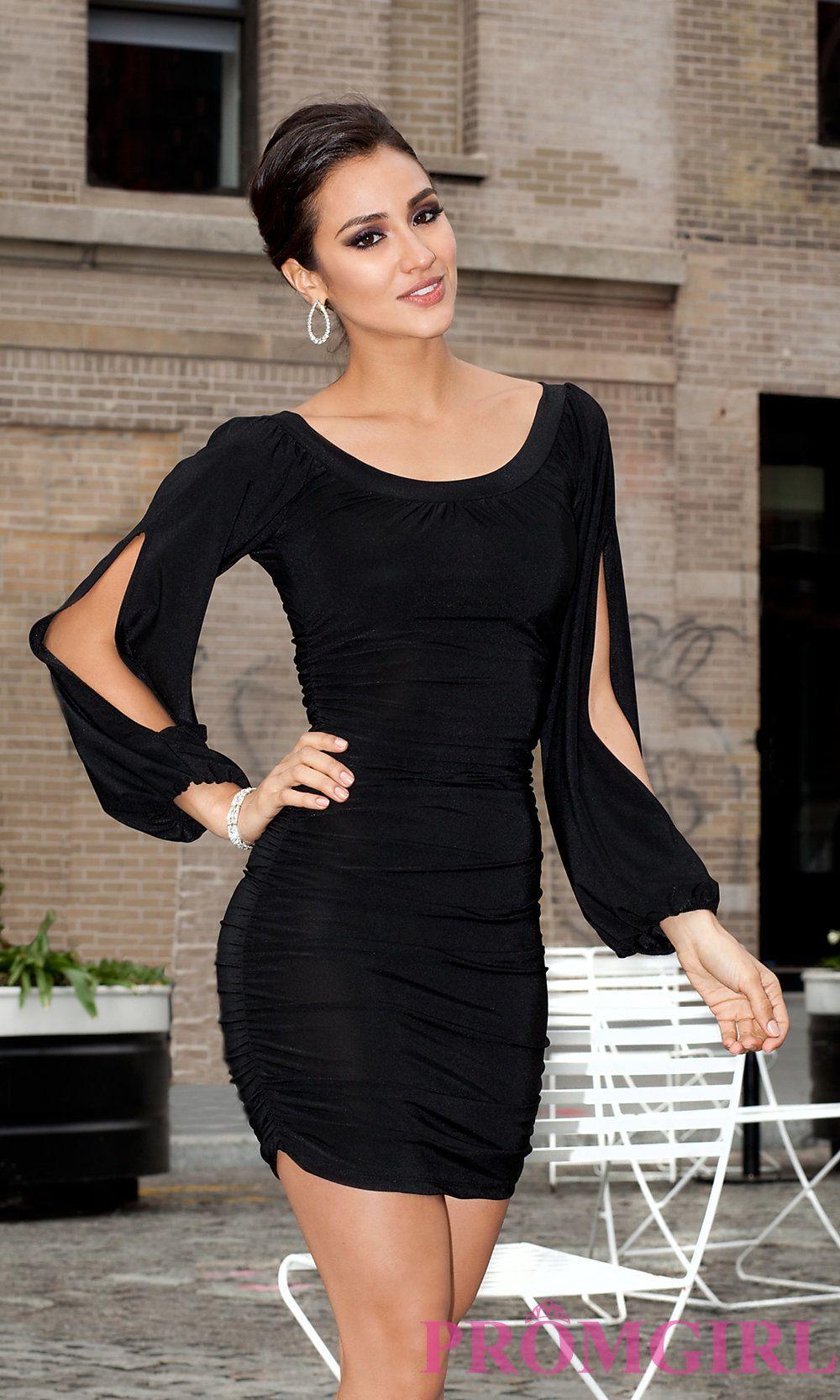 Long split sleeve short dresses black dress promgirl dresses