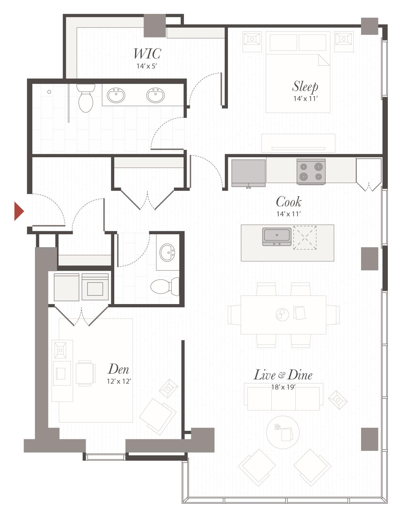 P11 1 Bedroom Apartment Cincinnati Encore Apartments
