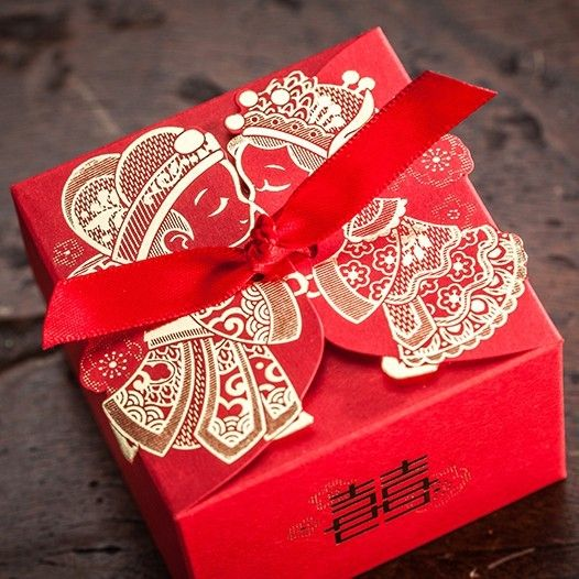 Cheap Wedding Favor Boxeswith Ribbon Red Chinese Wedding Candy Box Casamento…