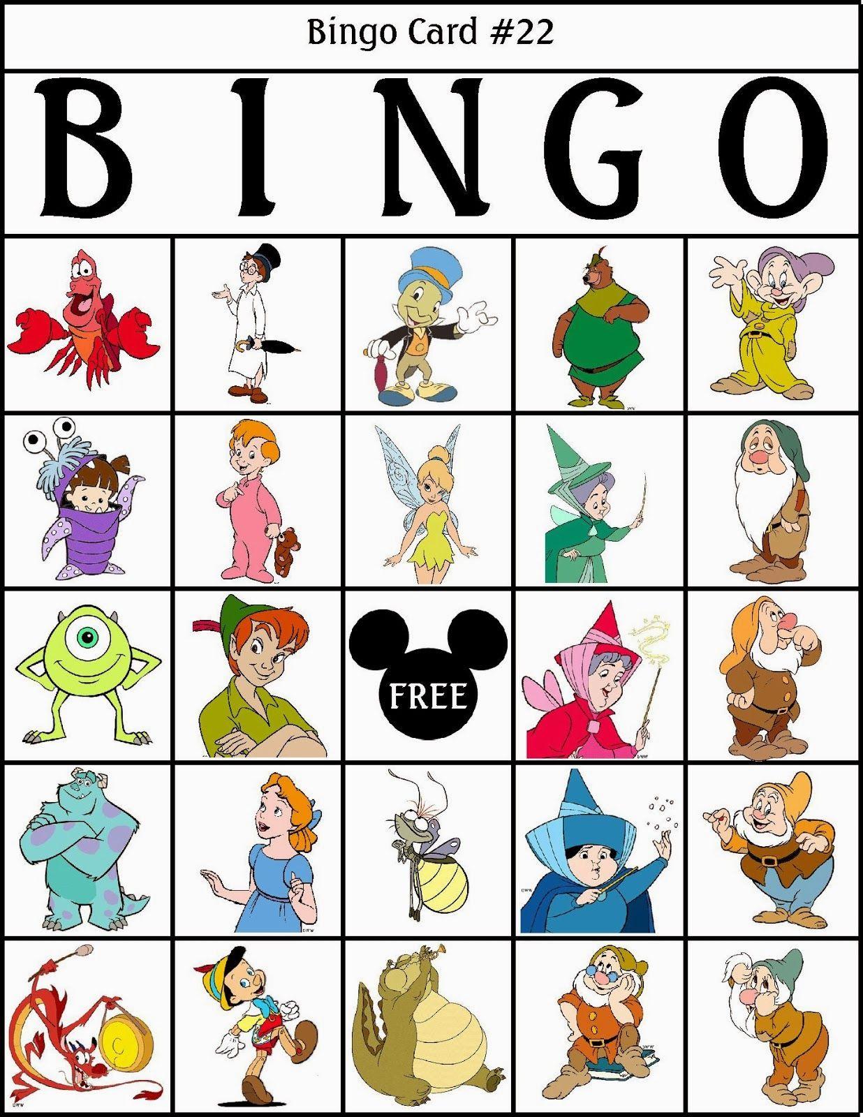 Bingo de Personajes Disney, para Imprimir Gratis.   aula 1-2 ...