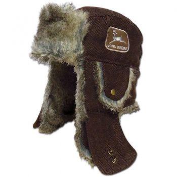 cdfdb178bcb John Deere Herringbone Brown Trapper Hat