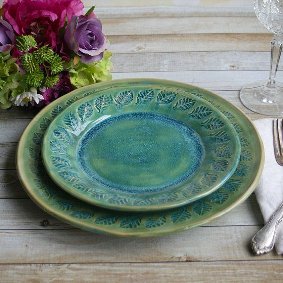 Two Rustic Dinnerware Place Settings Handmade Ceramic Stoneware Shimmering Green Pair of Dinner and Salad Plates Made in USA Ready to Ship & Two Rustic Dinnerware Place Settings Handmade by AndoverPottery ...