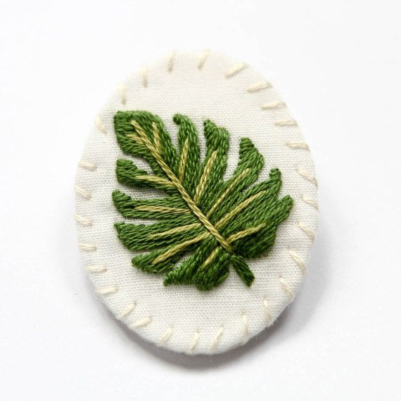 Monstera Hand Embroidered Brooch Tropical Leaf Hand
