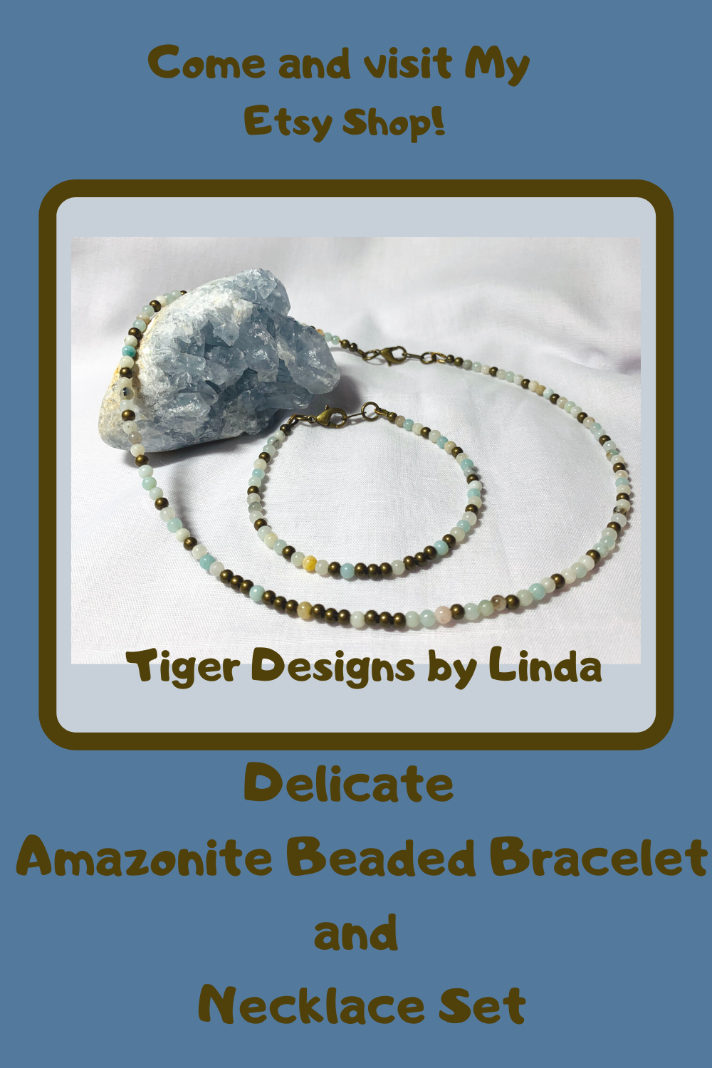 Photo of Delicate Amazonite Beaded Bracelet and Necklace Set from Tiger Designs by Linda