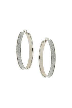 Silver Glitter Hoop Earrings