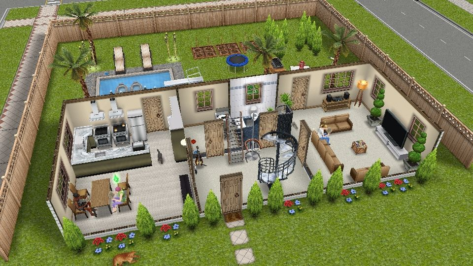 960 540 Pixels Sims Freeplay I Like The Rectangle House Design And How The Central