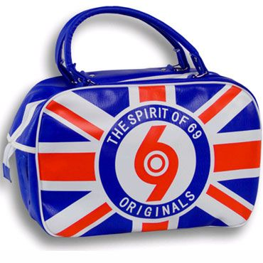 This is a great old school bowling bag with the Union Jack and the 69 (Spirit of 69) target logo.  www.runnin-riot.com