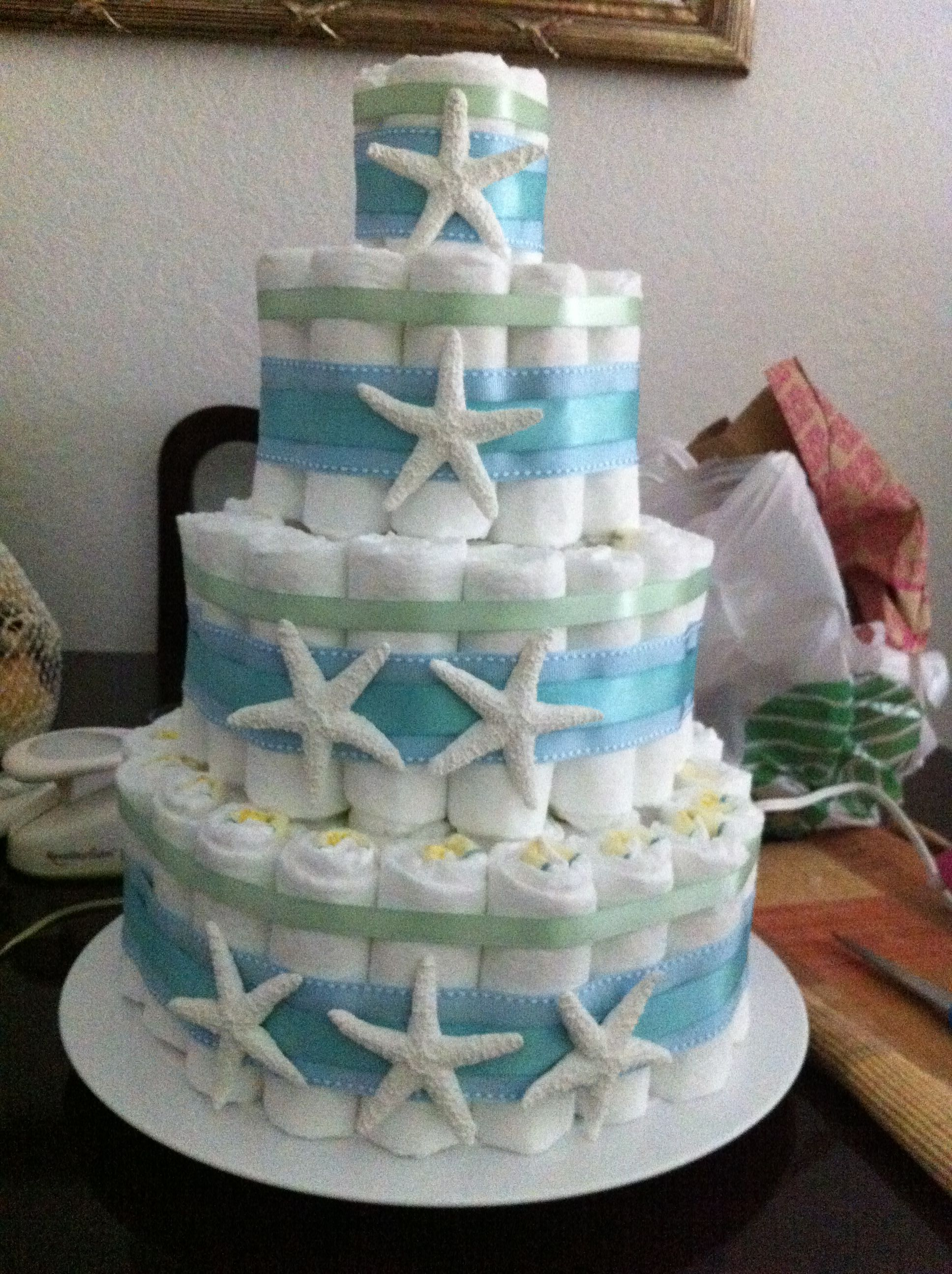 Under the sea diaper cake Baby shower ideas